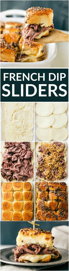 The best possible version of French Dip sandwiches -- made into oven-baked sliders! These French Dip sliders take only TEN MINUTES PREP! via Chelsea's Messy Apron The Best Easy Party Appetizers, Hors D'oeuvres, Delicious Dips and Finger Foods Recip Snacks Für Party, Appetizers For Party, Appetizer Recipes, Slidders Recipes, Quick Recipes, Heavy Appetizers, Party Dips, Appetizer Ideas, Party Recipes