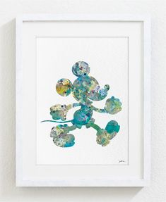 @Deedra Semones Mickey Mouse Watercolor Print - 5x7 Archival Fine Art Print - Gift, Wall Decor, Home Decor, Housewares