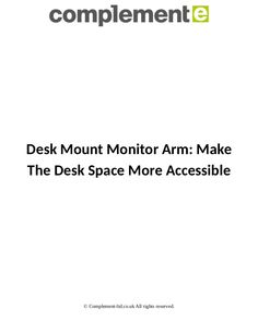 Customize your computer station with a variety of monitor mounts and monitor arms that let you work the way you want. Complement is a manufacturer of CPU holders, monitor arms and accessories for organising offices.