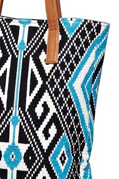 Eco Friendly Tulum Southwestern Aztec Tapestry Vegan Tote Bag - Navy Blue