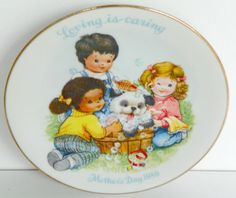 """Vintage AVON Mothers Day 1989 Plate 5"""" Loving Is Caring No box  #Avon"""