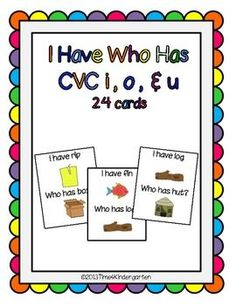 This is a set of 24 I Have Who Has game cards featuring i, o and u CVC words and pictures. I also have a set for vowels a and e I Have Who Has A & ECopyright Tiffani Mugurussa Time4Kindergarten.comLike Time4kindergarten on FacebookFollow me on Pinteresthttp://pinterest.com/mugurussa