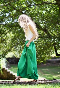 green skirt, tied tank