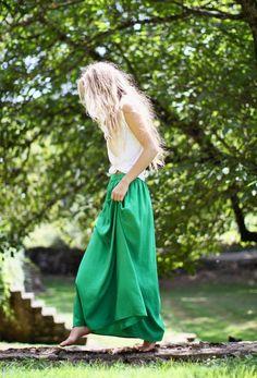 green skirt, tied tank