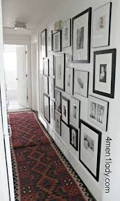 Gallery Wall from 4 Men & a Lady-Refers to Penny Sale at Aaron Brothers for Frames--Investigate further Photo Gallery Hallway, Hallway Pictures, Gallery Wall, Hallway Ideas, Staircase Ideas, Staircase Runner, Hallway Runner, Graffiti, Hallway Decorating