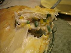 Lightened Up Chicken Pot Pie: Using evaporated milk and phyllo dough.