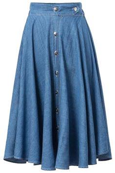 Bleach Wash Buttons Denim Long Skirt