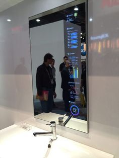 smart mirror display! Awesome! Smart Home Technology, Futuristic Technology, Technology Gadgets, Energy Technology, Electronics Gadgets, Usb Gadgets, High Tech Gadgets, Medical Technology, Technology Apple