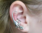 Silver Gecko Ear Cuffs/Wraps by martymagic on Etsy