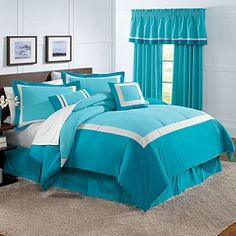 Turquoise Color Block Bedding