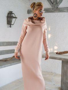 Scuba Neoprene Maxi Dress Kaftan with Pockets / Blush Pink