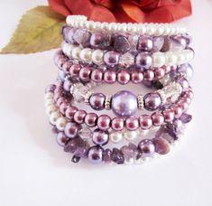 Pearl Beaded Bracelet, Amethyst Chip Bracelet, Stackable Bracelet, Pearl Cuff Bracelet, Shades of White, Ivory, Purple, Lilac