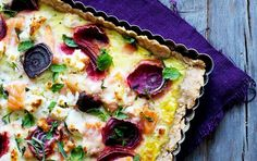 Salmon and beetroot quiche