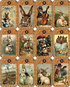 12 EASTER BUNNY - VINTAGE LOOK - PAPER CRAFT CARD TAG SCRAPBOOK in Crafts, Scrapbooking & Paper Crafts, Embellishments | eBay
