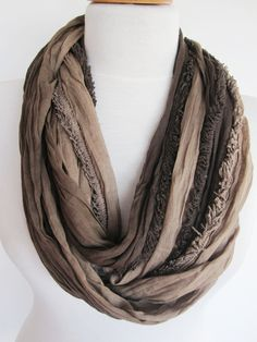 Brown / Beige Cotton Infinity Scarf