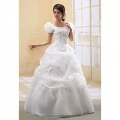Makes me think of Belles dress!!   $47.07 Sweetheart Neck Sequin Embellished Puff Sleeves Ruche Wedding Dress For Bride