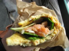 omelet wrap with spinach and salmon