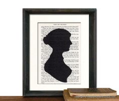 Jane Austen Silhouette Print Pride and Prejudice Book Page - Beautifully Matted Gift Present Home Office Decor. $14.00, via Etsy.