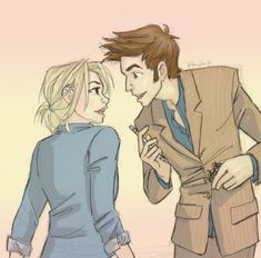 Rose and the 10th Doctor by Burdge. http://burdge.tumblr.com/