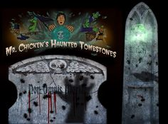 The Haunted Tombstone is a series of very simple projection effects that anyone with access to a video projector -- any video proje. Yard Haunt, First Video, Hallows Eve, Halloween Diy, Cemetery, Holiday Fun, Neon Signs, Simple, Frame