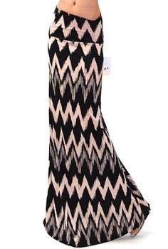 BLACK BEIGE TRENDY CHEVRON JERSEY #15 HIGH FOLD OVER WAIST LONG MAXI SKIRT S