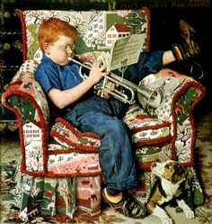 """""""Trumpet Practice"""" by Norman Rockwell for The Saturday Evening Post cover (info verified). Norman Rockwell Prints, Norman Rockwell Paintings, Peintures Norman Rockwell, Illustrator, Illustration Noel, Saturday Evening Post, Mail Art, American Artists, Oeuvre D'art"""
