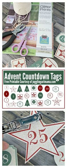 Glitter Advent Countdown Tags - Made with Core'dinations printable glitter paper