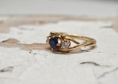 Sapphire and Diamond 14kt Gold Unity Engagement Ring - 14kt Gold Customizable Twig Engagement Wedding Ring