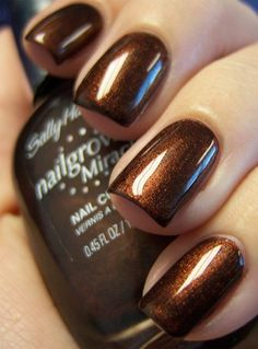 Sally Hansen's Forbidden Fudge! I love chocolate nails, I am going to have to fi… Sally Hansen's Forbidden Fudge! Brown Nail Polish, Brown Nails, Nail Polish Colors, Fabulous Nails, Gorgeous Nails, Pretty Nails, Colorful Nail Designs, Nail Art Designs, How To Do Nails