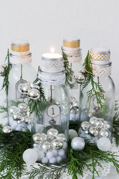 Advent candles decoration with tea lights and bottles. Simply beautiful by songbirdblog.com