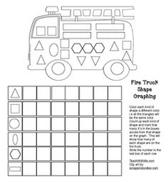 Fire safety: Graphing shapes. FREE printables.