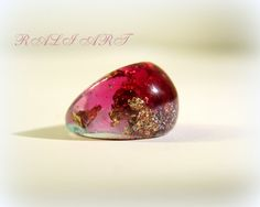 Ring resin Resin ring colored resin gold flakes by RALIJEWELLERY