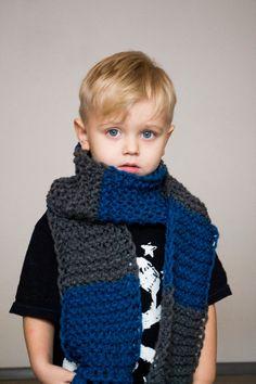 Children's chunky scarf striped neckwarmer grey by OnwardOnward