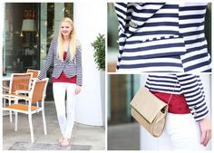 Assistant Fashion Editor relaxes outside EW Towers in a nautical inspired ensemble. Cherith adds a pop of colour with a raspberry tank and matching pout. A fitted blazer at the office is a must, protecting us against the chilly AC, we love this striped style by H.