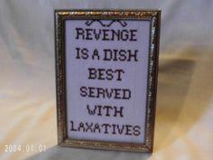 Funny Framed Cross Stitch, Revenge by agorby00