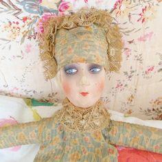 ad066f03d66 Vintage 1920 s Boudoir Doll. Art Deco Flapper Doll. Poupee De Salon. Antique  Papier Mache Doll Hanger. Bed Doll