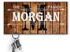 Monogram Personalized Key Holder Custom Wood Key Hanger For Wall Housewarming Gift, Anniversary Gift Last name key ra... Key Hanger For Wall, Wall Mounted Key Holder, Wall Key Holder, Gifts For Family, Gifts For Mom, High Gloss Paint, Paint Types, Handmade Signs, Key Rack