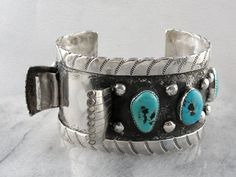 Native American Turquoise Cuff Watch Band by MSJewelers Turquoise Cuff, Turquoise Jewelry, Turquoise Bracelet, Deep Silver, Southwest Jewelry, Eternity Bands, Watch Bands, Native American, Cuff Bracelets