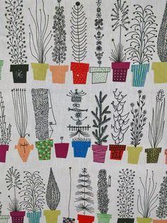 "Scandinavian Modern Fabric Italian Blooms by Olle Eksell 1 Yard x 59 3/4"""