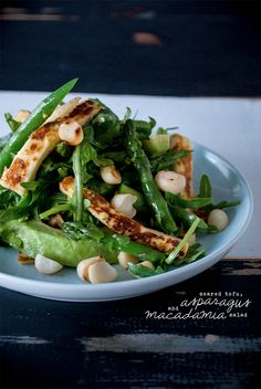 Pan Seared Tofu and Asparagus  Macadamia Salad (vegan)