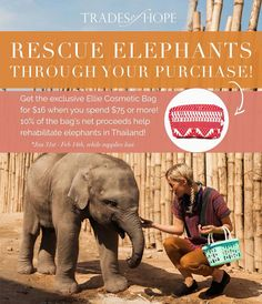 ♥️🐘 - PROMOTION EXTENDED: Ellie Cosmetic Bag - 🐘♥️ Good news! We are extending our promotion!! With any order of $75+ placed through February 28th, you can add the exclusive, limited-edition Ellie Cosmetic Bag to your order for only $16! Available while supplies last. In addition to helping empower women around the world out of poverty with your purchases, 10% of the net proceeds from the sale of the Ellie bag will go to help rehabilitate elephants in Thailand!