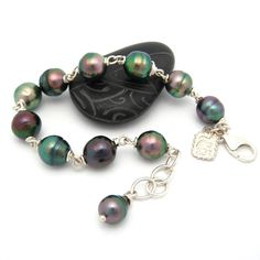 Tahitian Black Pearl Tarea Wire Wrapped Silver by MooreaDesign, $342.00