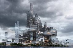 """ufo cr-design cloud citizen shenzhen super city competition - Overwhelming on approach by boat - """"Cloud Citizen"""", Shenzhen Bay Super City Masterplan Competition Winner, Shenzhen, China by by Urban Future Organization and CR-Design"""