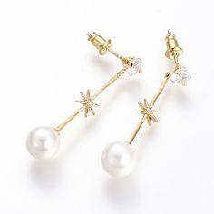 Brass Cubic Zirconia Dangle Earrings
