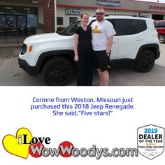 This Jeep Renegade is perfect for all the adventures that are waiting for Corinne, congratulations! 🎉 #wow #wowwoodys #woodysautomotive #cars #trucks #suvs #carsforsale #trucksforsale #suvsforsale #kansascity #chillicothe #customerreviews #customertestimonials #wowcarbuying #carshopping #happycustomers #2018jeeprenegade #jeeprenegade #jeep #renegade