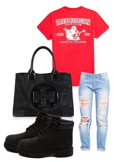 """""""Untitled #175"""" by iamtinaa on Polyvore featuring Tory Burch and Timberland"""