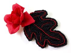 Red and Black Burlesque Hair Clip   Megan's Beaded Designs