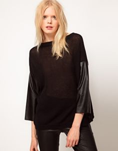 Enlarge Just Female Faux Leather Sleeve Sweater