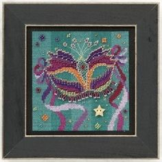 "MH141102 - Purple Mask (2011) - Mill Hill - Buttons and Bead Kits - Spring Series Kit Includes: Beads,ceramic button, perforated paper, floss, needles, chart and instructions.  Mill Hill frame GBFRM1 sold separately Size: 5"" x 5"""