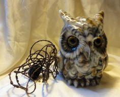 Vintage Porcelain Owl With Big Eyes Table Top Lamp Light